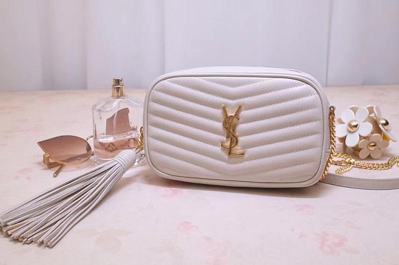 Saint Laurent Ysl 585040 Lou Mini Camera Bag In White