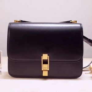 Replica Saint Laurent YSL 585060 Carre Satchel Bags In Black Smooth Leather
