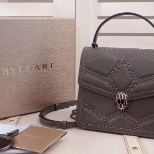 Replica Bvlgari Serpenti Forever 284224 Crossbody Bags Gray Original Leather