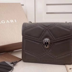 Replica Bvlgari Serpenti Forever 284278 Flap Cover Bags Gray Original Leather