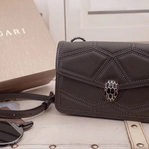 Replica Bvlgari Serpenti Forever 284447 Flap Cover Bags Gray Original Leather