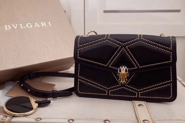 Replica Bvlgari Serpenti Forever 284447 Flap Cover Bags Black Original Leather