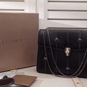 Replica Bvlgari Serpenti Forever 284788 Flap Cover Bags Black Original Leather