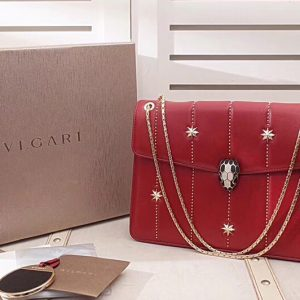 Replica Bvlgari Serpenti Forever 284788 Flap Cover Bags Red Original Leather