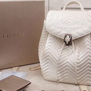 Replica Bvlgari Serpenti Forever 286536 Backpack White Quilted Nappa Leather