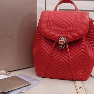 Replica Bvlgari Serpenti Forever 286536 Backpack Red Nappa Leather