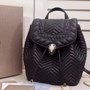 Replica Bvlgari Serpenti Forever 286536 Backpack Black Red Nappa Leather