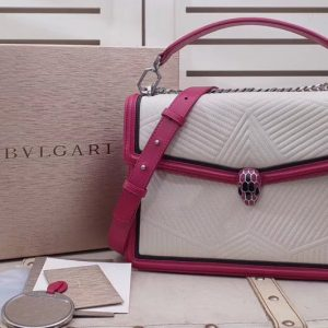 Replica Bvlgari Serpenti Forever 286628 Serpenti Diamond Blast Top Handle Bags White/Red Quilted Nappa Leather