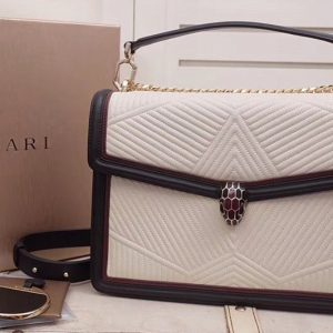 Replica Bvlgari Serpenti Forever 286628 Serpenti Diamond Blast Top Handle Bags White/Black Quilted Nappa Leather