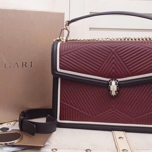 Replica Bvlgari Serpenti Forever 286628 Serpenti Diamond Blast Top Handle Bags Wine/Black Quilted Nappa Leather