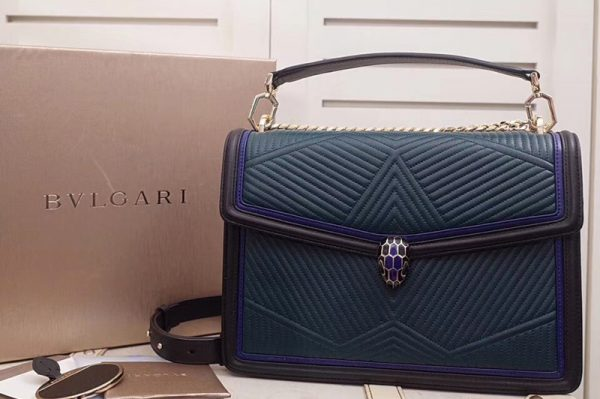 Replica Bvlgari Serpenti Forever 286628 Serpenti Diamond Blast Top Handle Bags Green/Black Quilted Nappa Leather
