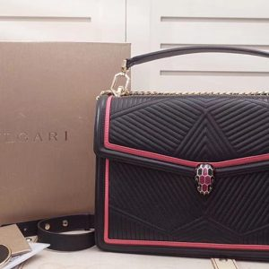 Replica Bvlgari Serpenti Forever 286628 Serpenti Diamond Blast Top Handle Bags Black/Red Quilted Nappa Leather