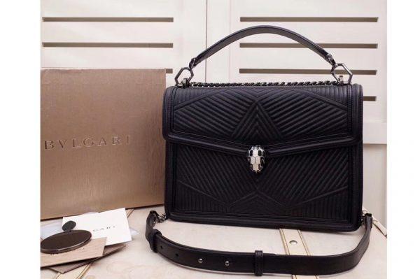 Replica Bvlgari Serpenti Forever 286628 Serpenti Diamond Blast Top Handle Bags Black Quilted Nappa Leather