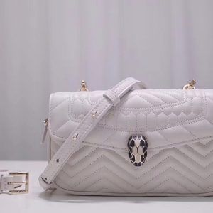 Replica Bvlgari Serpenti Forever 287569 Belt Bags White Quilted Nappa Leather
