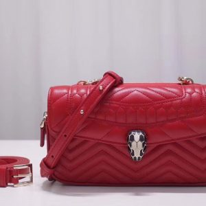 Replica Bvlgari Serpenti Forever 287569 Belt Bags Red Quilted Nappa Leather