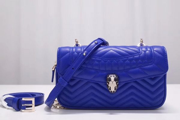 Replica Bvlgari Serpenti Forever 287569 Belt Bags Blue Quilted Nappa Leather