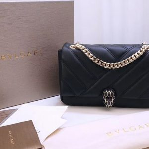 Replica Bvlgari 287993 Serpenti Cabochon Shoulder Bags Black Nappa Leather