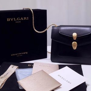 Replica Alexander Wang x Bvlgari 288741 Crossbody Bags Black Smooth Calf Leather
