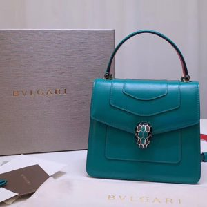 Replica Bvlgari Serpenti Forever 38329 Crossbody Bags Green Calf Leather