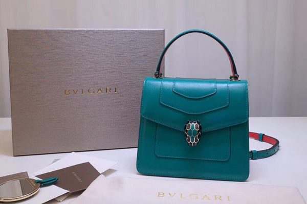 Replica Bvlgari Serpenti Forever 38329 Crossbody Bags Green Calf Leather
