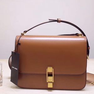Replica Saint Laurent YSL 585060 Carre Satchel Bags In Tan Smooth Leather