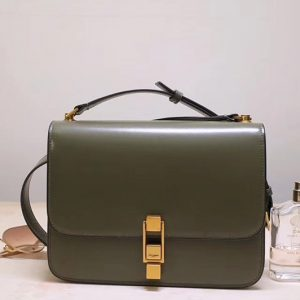 Replica Saint Laurent YSL 585060 Carre Satchel Bags In Green Smooth Leather