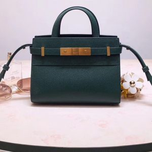 Replica Saint Laurent 593741 YSL Manhattan Nano Bag in Green Grain de Poudre Embossed Leather