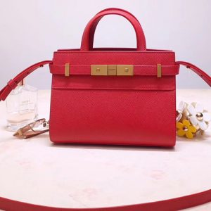 Replica Saint Laurent 593741 YSL Manhattan Nano Bag in Red Grain de Poudre Embossed Leather