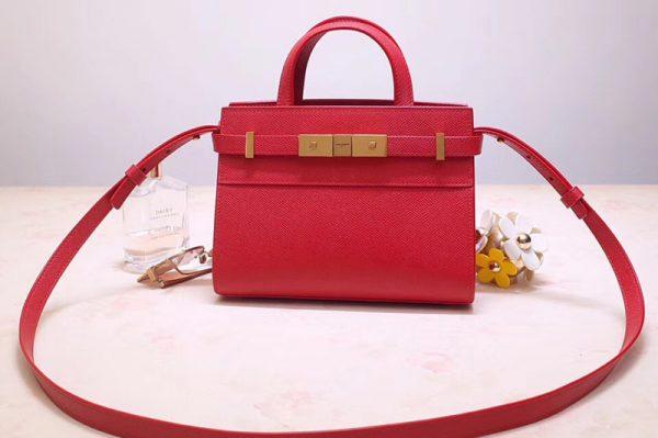Replica Saint Laurent 593741 YSL Manhattan Nano Bag in Red Grain de Poudre Embossed Leather