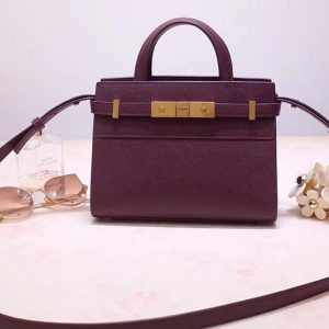 Replica Saint Laurent 593741 YSL Manhattan Nano Bag in Purple Grain de Poudre Embossed Leather