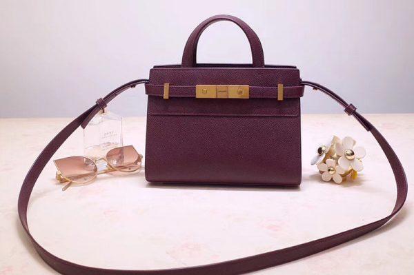 Replica Saint Laurent 593741 YSL Manhattan Nano Bag in Purple Grain de Poudre Embossed Leather