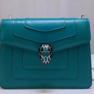 Replica Bvlgari Serpenti Forever 61879 Flap Cover Bags Green Calf Leather