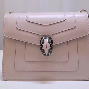 Replica Bvlgari Serpenti Forever 61879 Flap Cover Bags Beige Calf Leather