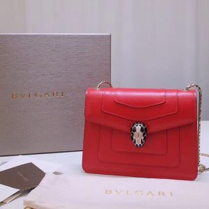 Replica Bvlgari Serpenti Forever 61879 Flap Cover Bags Red Calf Leather