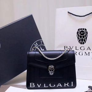 Replica Bvlgari Serpenti Forever 61879 Flap Cover Bags Black Calf Leather With Bvlgari Print
