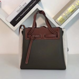 Replica Loewe 329.74.Z71 Lazo Mini Bag Brown/Green Boxcalf