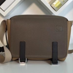 Replica Loewe 31712BAA72 military messenger XS Bags Green/Beige Soft Grained Calf Leather
