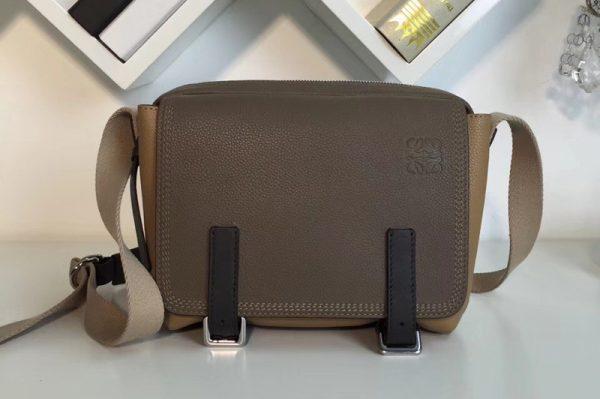 Replica Loewe 31712BAA72 military messenger XS Bags Green/Beige Soft Grained Calf Leather