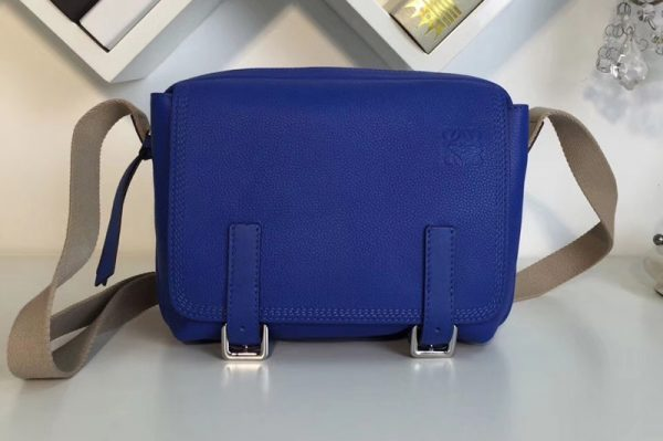 Replica Loewe 317.12AA72 military messenger XS Bags Pacific Blue Soft Grained Calf Leather