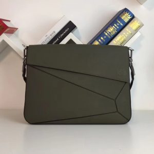Replica Loewe 324.12.T55 Puzzle Messenger Bag Green Soft Grained Calf/Calf