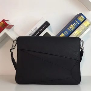 Replica Loewe 324.12.T55 Puzzle Messenger Bag Black Soft Grained Calf/Calf