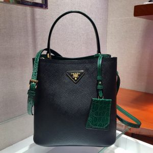 Replica Prada 1BA212 Panier Medium bags Black/Green Saffiano leather