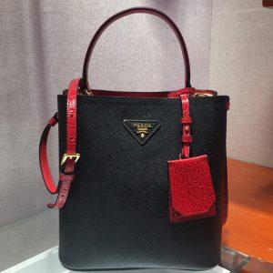 Replica Prada 1BA212 Panier Medium bags Black/Red Saffiano leather