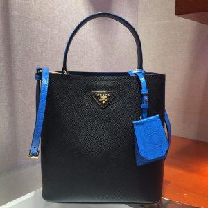 Replica Prada 1BA212 Panier Medium bags Black/Blue Saffiano leather
