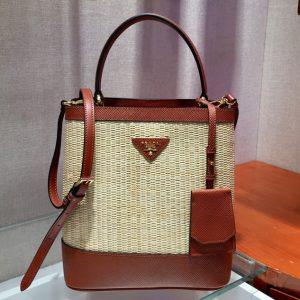 Replica Prada 1BA212 Panier medium straw bags Straw and Brown Saffiano leather
