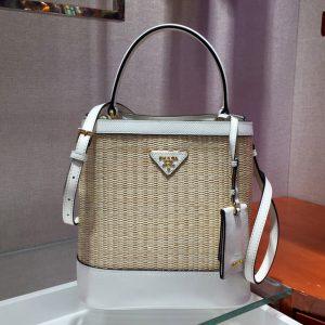 Replica Prada 1BA212 Panier medium straw bags Straw and White Saffiano leather