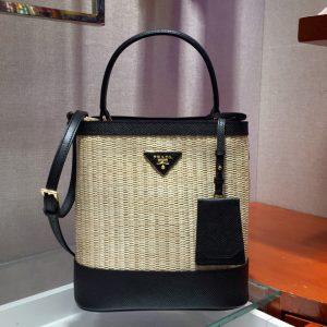 Replica Prada 1BA212 Panier medium straw bags Straw and Black Saffiano leather