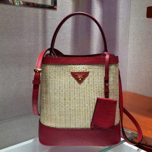 Replica Prada 1BA212 Panier medium straw bags Straw and Red Saffiano leather