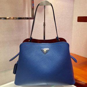 Replica Prada 1BA249 Matinee handbags Blue Saffiano leather