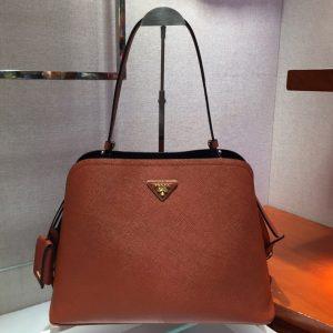 Replica Prada 1BA249 Matinee handbags Brown Saffiano leather